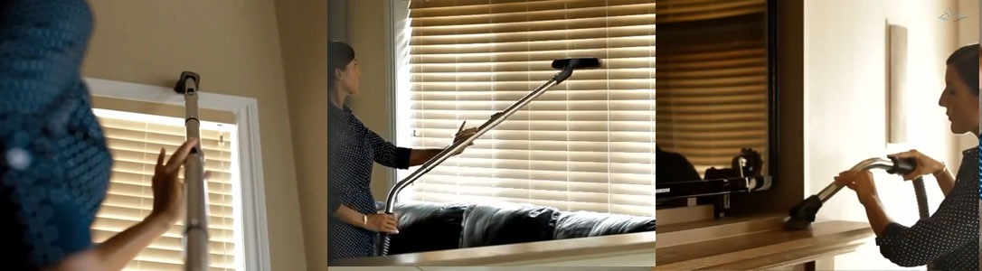 Sirena cleaning walls, blinds and ledges